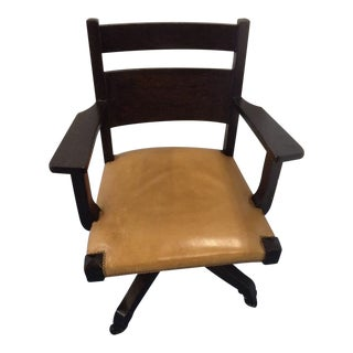 Wood and Leather Desk Chair For Sale