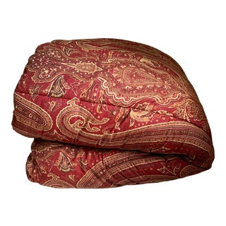 Ralph Lauren Remington Red Paisley Reversible Full/Queen Comforter For Sale