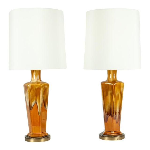 Vintage Porcelain Desk / Table Lamps - a Pair For Sale