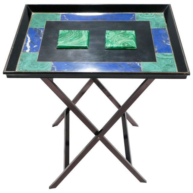 Christian Dior Faux Malachite Folding Tray Table, 1970s For Sale - Image 11 of 11