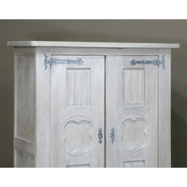 Wood Antique Rustic Country French Painted Gothic Cabinet For Sale - Image 7 of 10