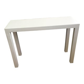 Minimalist White Plaster Parsons Console Table