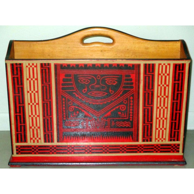 Mexican Lacquerware Magazine Stand With Aztec Designs For Sale - Image 13 of 13