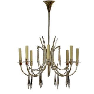 Sciolari Italian Mid-Century Modern Chrome Plated Brass & Crystal Chandelier For Sale