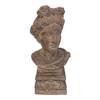 Late 18th Century Vintage Signed Terra Cotta Bust For Sale
