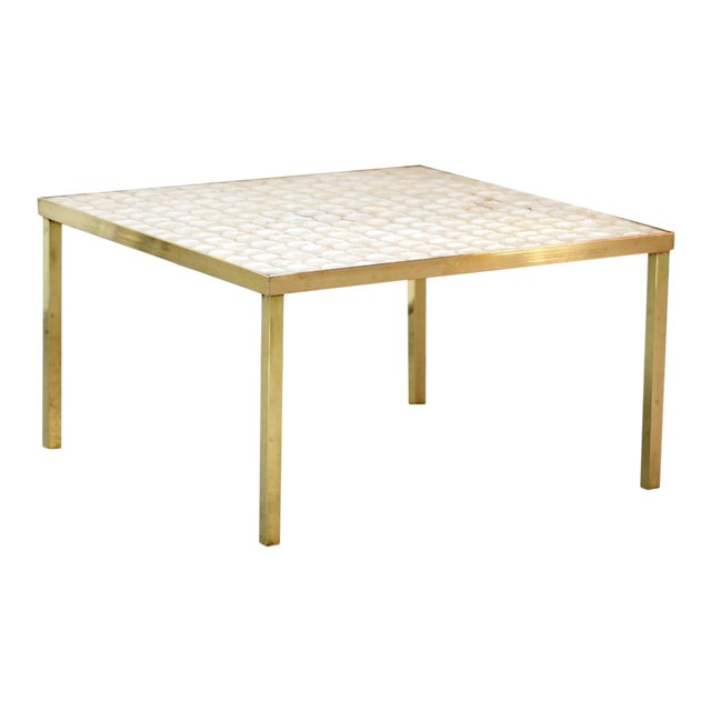 Vintage Hollywood Regency Brass and Capiz Shell Accent Table Attribited to Billy Haines For Sale
