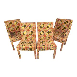 Parsons Style Upholstered Dining Chairs - Set of 4 For Sale