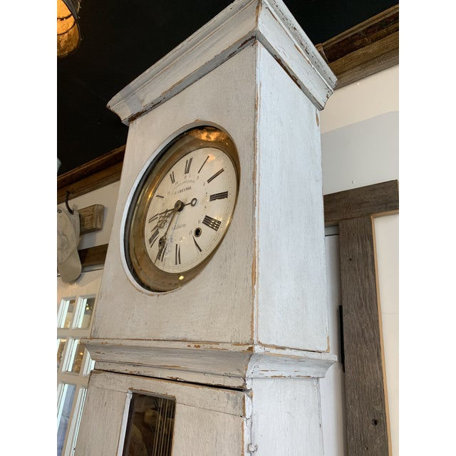 Antique French Painted Grandfather Clock For Sale - Image 9 of 13