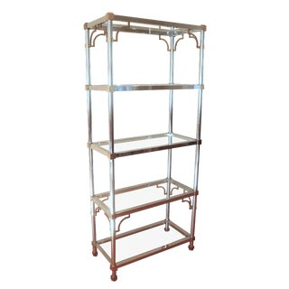 Mid-Century Chinoiserie Chrome, Brass & Glass Etagere Shelf For Sale