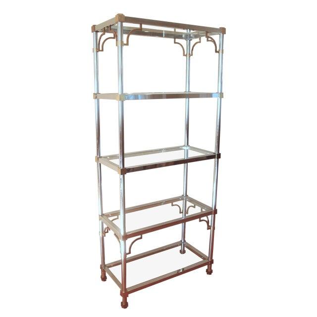 Mid-Century Chinoiserie Chrome, Brass & Glass Etagere Shelf For Sale