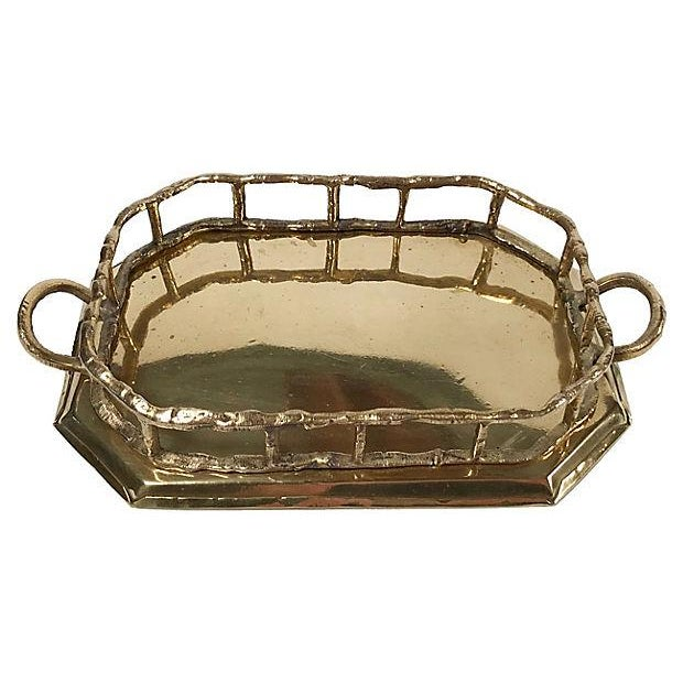 Hollywood Regency Octagonal Brass Tray with Bamboo Rail For Sale - Image 3 of 5