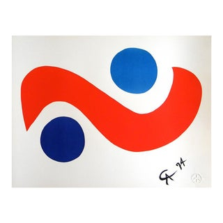 """Original Astonishing Calder """"Skybird""""Limited Edition Print Lithograph 1974 (Braniff Airplines) For Sale"""