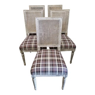Newly Upholstered Gray Cane Back Chairs W/ Plaid Seat Cushion - Set of 5 For Sale