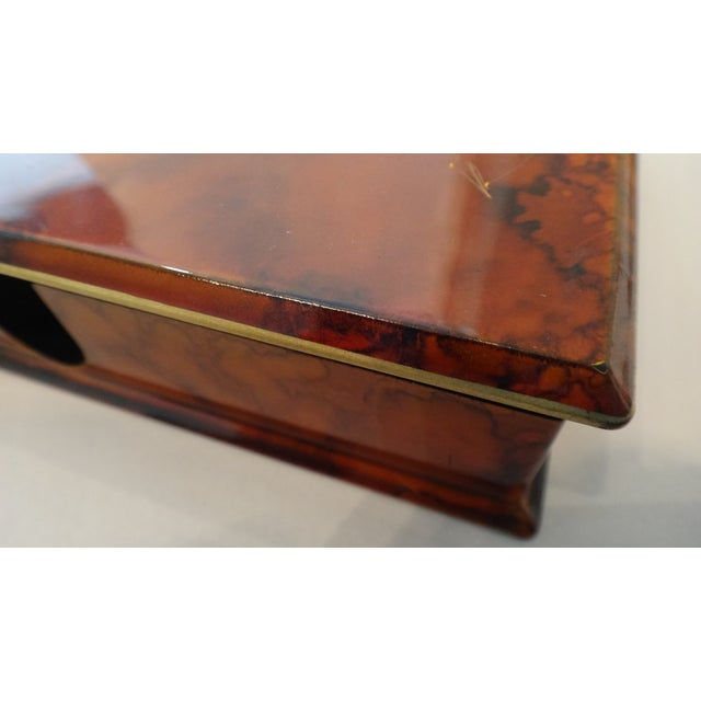 Faux Tortoise Shell Lacquer Desk Box - Image 7 of 10
