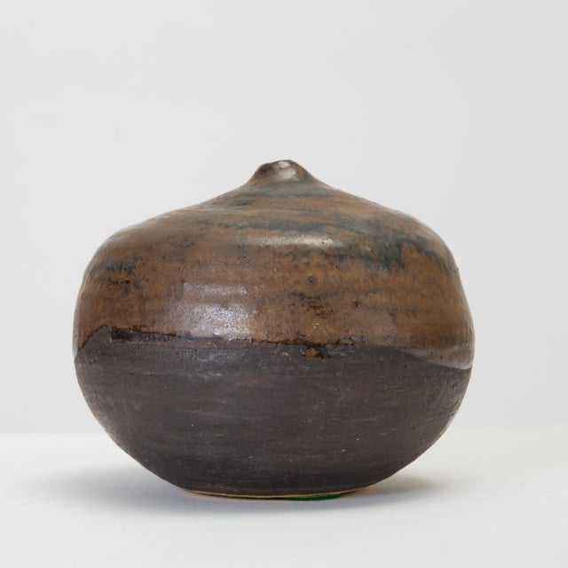 Ceramic Brown and Black Glazed Studio Pottery Weed Pot by Sakamoto For Sale - Image 7 of 11