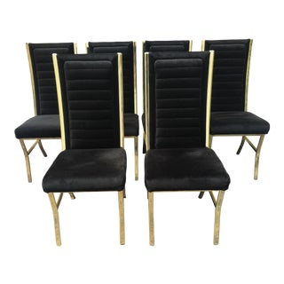 1980s Vintage Hollywood Regency Daystrom Gold and Black Chairs- Set of 6 For Sale