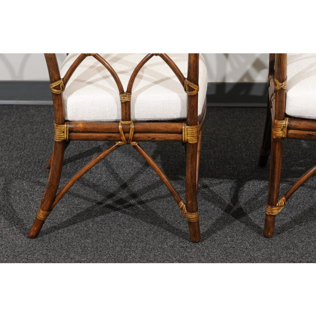 Chic Restored Set of 8 Modern Arm Dining Chairs by McGuire, circa 1975 For Sale - Image 11 of 13