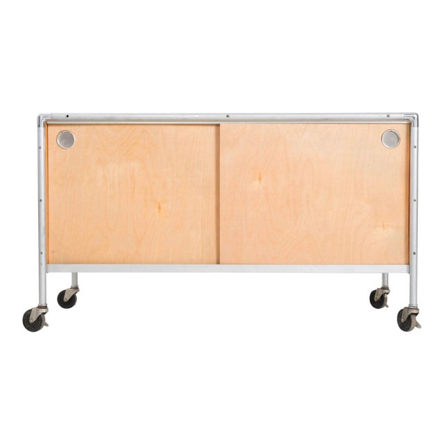 Henry P. Glass Storage Rolling Credenza For Sale