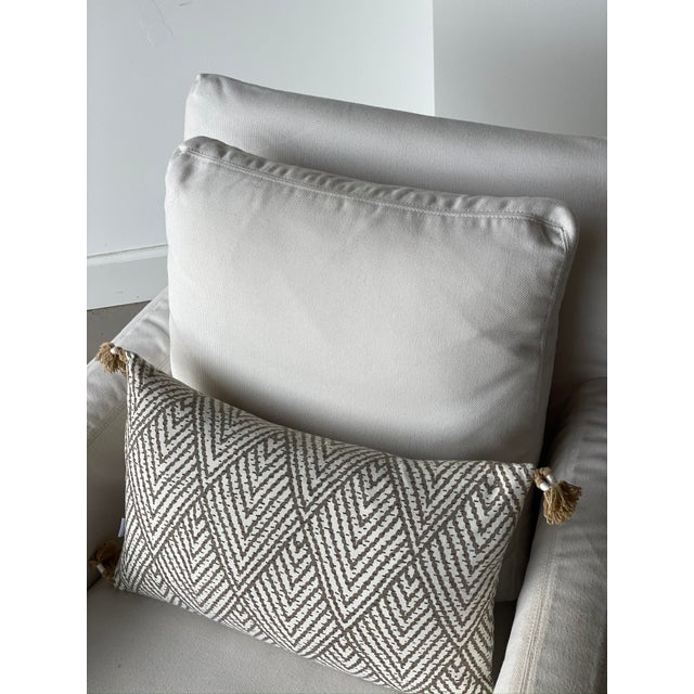 Canvas Kapas Slipcovered Swivel Chair For Sale - Image 7 of 10
