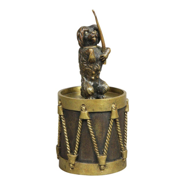 European Bronze Figure Of A Dog Seated On A Drum Dinner Bell For Sale