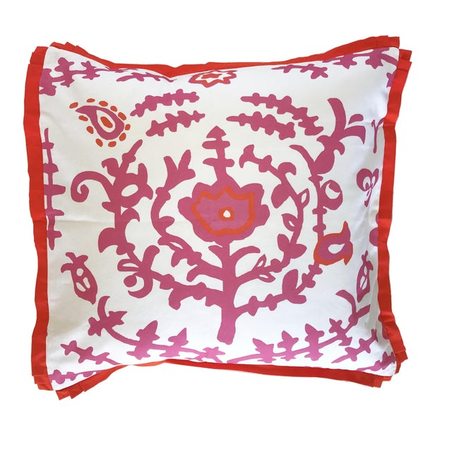 Traditional Ping Square Pillow For Sale - Image 3 of 3