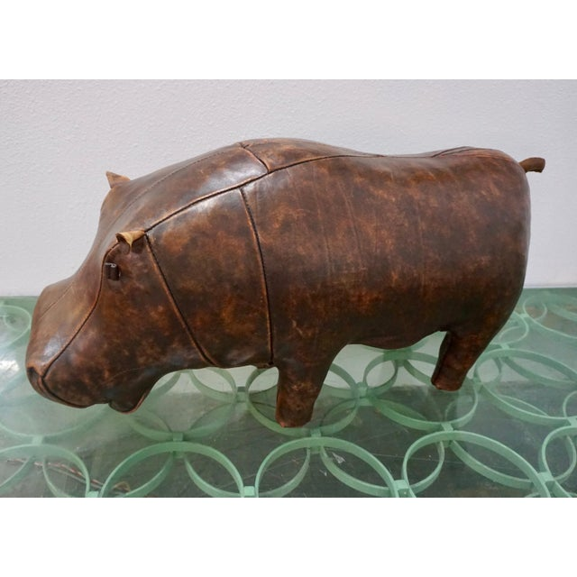 Brown 1970s Vintage Omersa for Abercrombie + Fitch Leather Hippo Ottoman For Sale - Image 8 of 9