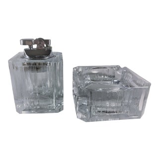 Vintage Colibri Leaded Crystal Table Butane Lighter and Ashtray Set - 2 Pieces For Sale