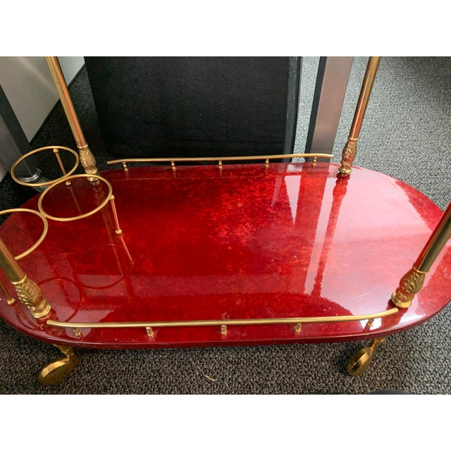 1950's Goatskin Red Aldo Tura Bar Trolley Cart For Sale - Image 10 of 13