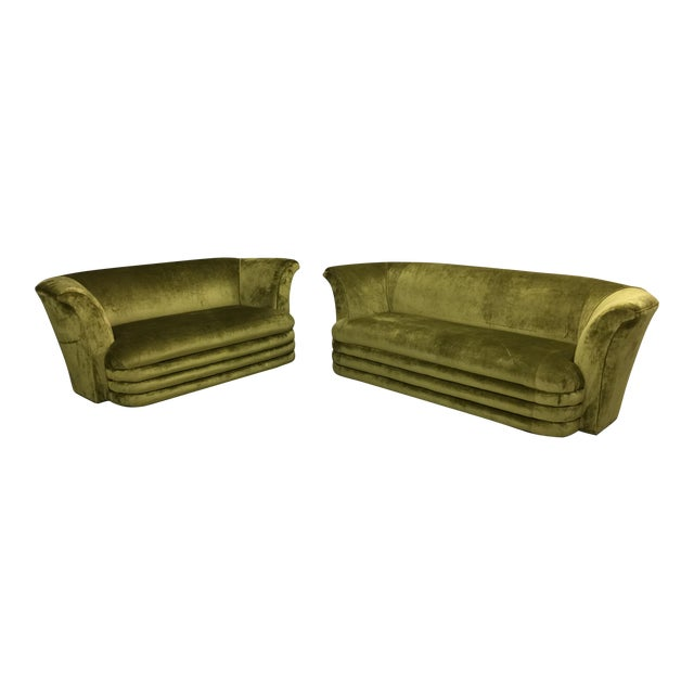 Chartreuse Art Deco Inspired Sofa & Loveseat - A Pair - Image 1 of 7