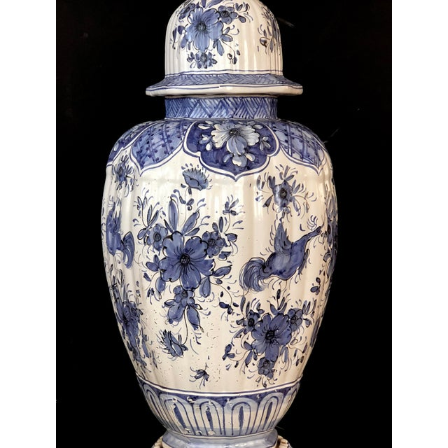 Mid 19th Century A Large and Good Quality Dutch 19th Century Blue and White Tin-Glazed Delft Ginger Jar Now Mounted as a Lamp For Sale - Image 5 of 7