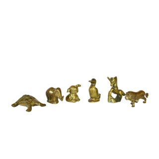 Solid Brass Animals Figurines Collection - Set of 6 For Sale