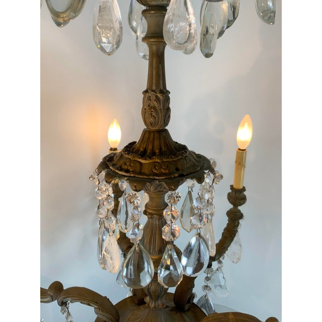Late 19th / Early 20th Century French Bronze Chandelier With Rock Crystals For Sale - Image 9 of 13