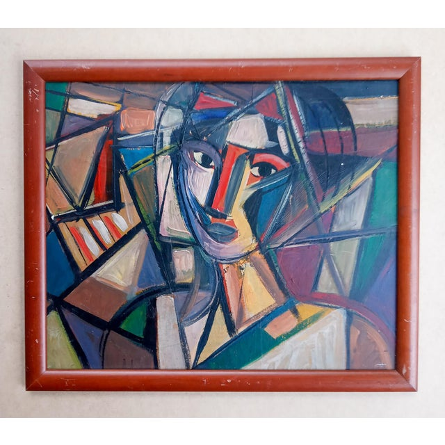 Red Late 20th Century Cubist Female Portrait Oil Painting, Framed For Sale - Image 8 of 8