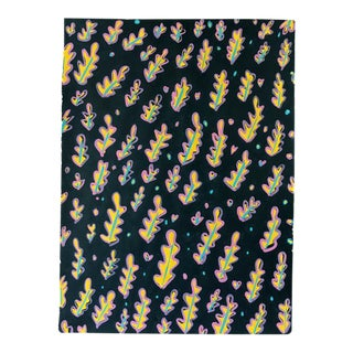 Yellow Leaf on Black Pattern Painting For Sale