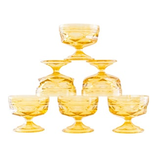 Dessert Bowls | Ice Cream Bowls | Butterscotch Yellow Pressed Glass| Set of 6 For Sale