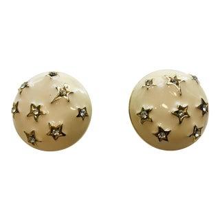 Designer Signed Ivory Enamel Crystal Stars Earrings For Sale