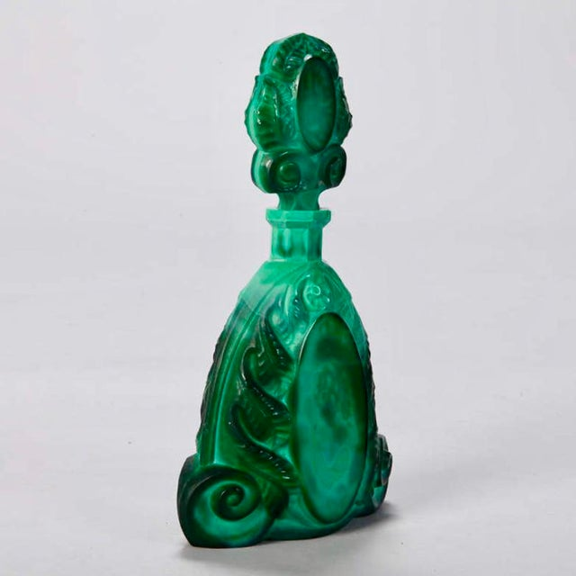 Art Deco Boho Malachite Glass Decanter Set of 6 - Image 3 of 9