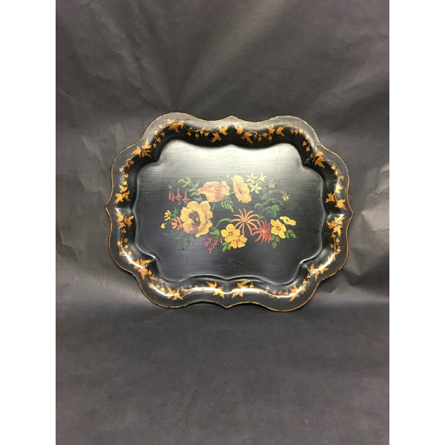 Metal Vintage Tole Tray Black With Hand Painted Floral Design For Sale - Image 7 of 8