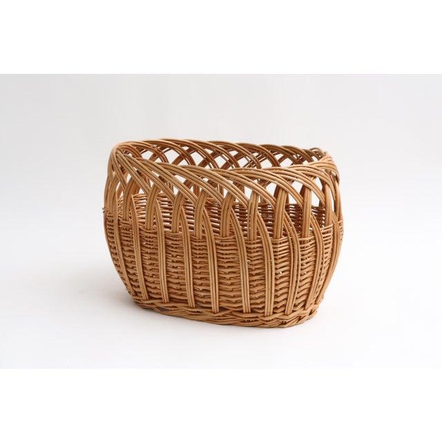 Vintage Boho Chic Wicker Magazine Rack Basket - Image 2 of 5