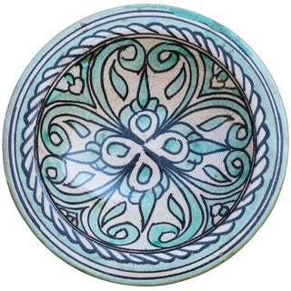 Ceramic Wall Plate W/ Ornate Arabesque For Sale