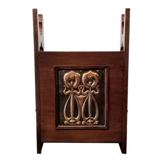 Shapland & Petter English Arts & Crafts Darkened Oak Cane Stand With Repousse Copper Panel For Sale