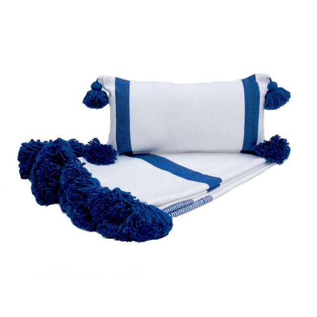 2010s Boho Chic White and Blue Cotton Pillow For Sale - Image 5 of 7