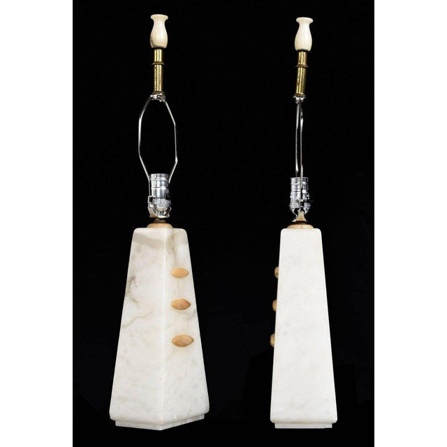 1950s Art Deco to Modern Transitional Alabaster Pyramid Table Lamps and Finials - a Pair - Image 2 of 8