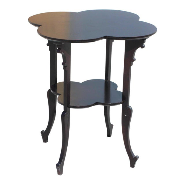 1940s French Art Deco Dark Mahogany Two-Tier Side Table For Sale - Image 12 of 13
