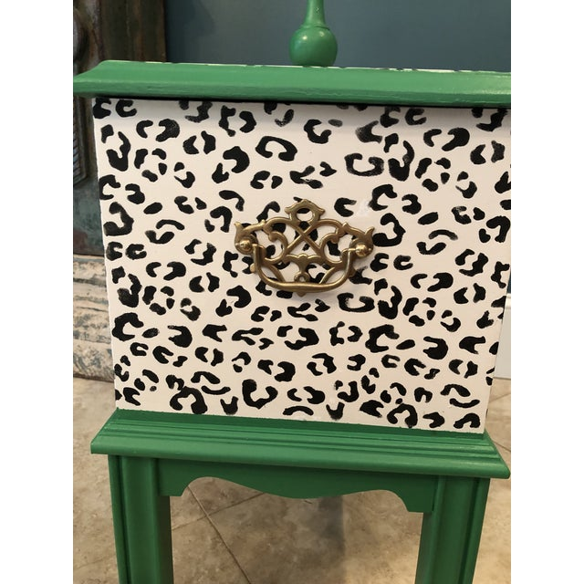 Boho Chic Leopard Motif Black and White Chest For Sale - Image 3 of 10