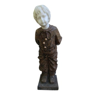Granite Statue of Boy Holding a Bouquet For Sale