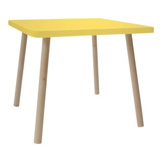 "Tippy Toe Small Square 23.5"" Kids Table in Maple With Yellow Finish Accent For Sale"