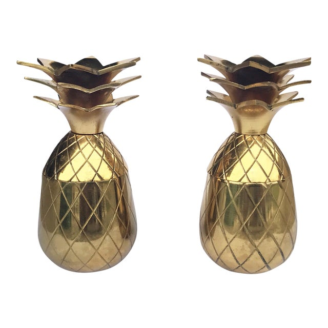 The Pineapple Co. Brass Shot Glasses - A Pair - Image 1 of 6