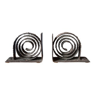 Brutalist Spiral Metal Bookends - a Pair For Sale