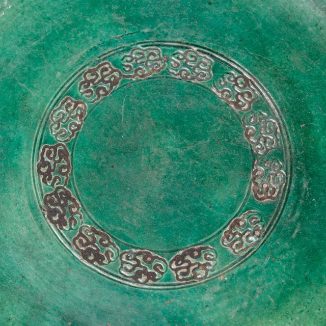 Japanese Antique Japanese Green Ceramic Oribe-Style Oil Plate For Sale - Image 3 of 4